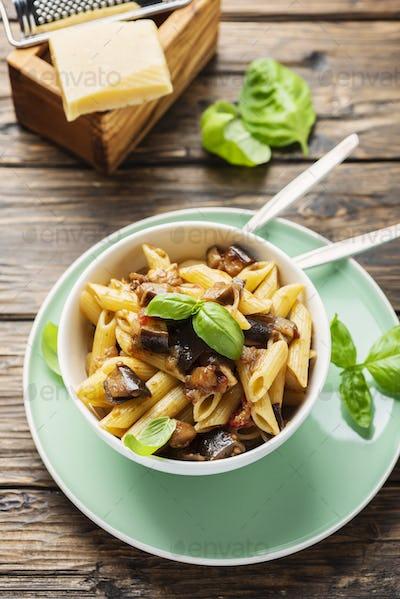 Italian traditional pasta with eggplant