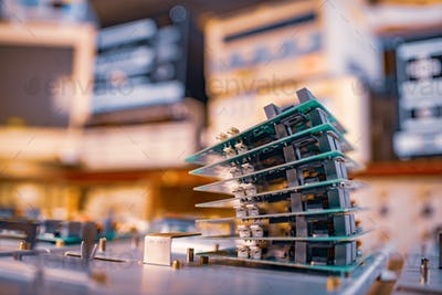 Microchips are stacked on top of each other