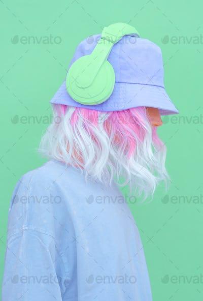 Urban Summer fresh Dj Girl. Monochrome Minimal design trends. Vanilla aesthetic colours