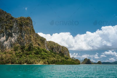 Amazing landscape of Lagen rocky island from sea, El Nido, Philippines