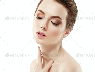 Young beautiful woman with hands portrait with short hair healthy skin studio on white