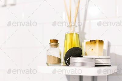 Eco natural shampoo, konjac sponge, fragrance oil, soap and ayurveda ubtan powder in glass