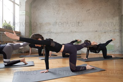 Group of women stretching in hall
