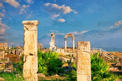 Ancient city of Hierapolis and a statue of Pluto or Hades