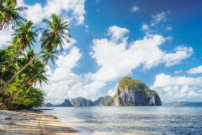 Leaning palm trees of Las Cabanas beach in El Nido, Palawan island, Philippines