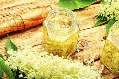 Elderberry flowers in herbal medicine.