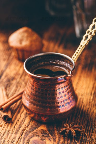 Turkish coffee with spices and muffins