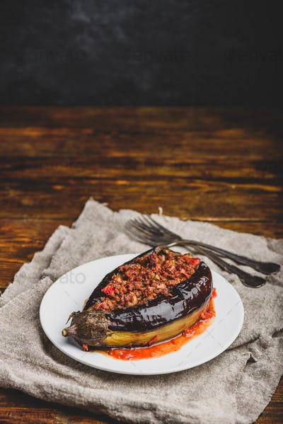Eggplant stuffed with ground beef and tomatoes