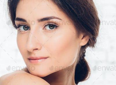 Woman natural portrait brunette casual lifestyle