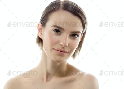 Beauty Woman face Portrait. Beautiful model Girl with Perfect Fresh Clean Skin color lips purple