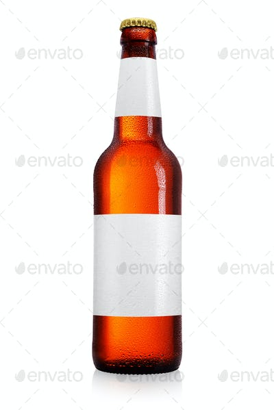 Brown beer bottle with long neck isolated on white background.