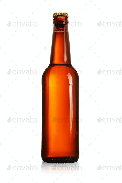 Brown beer bottle with long neck isolated on white.