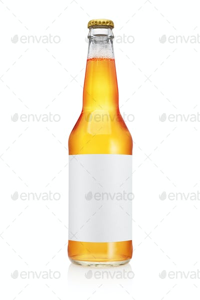 Transparent beer bottle isolated on white background.
