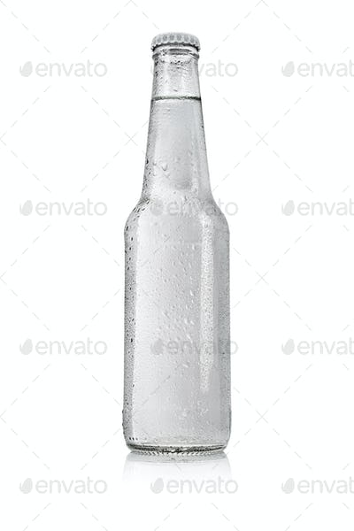 Transparent glass bottle with water without label isolated on white.
