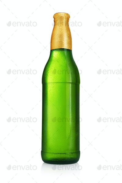 Green beer bottle without label isolated on white background.