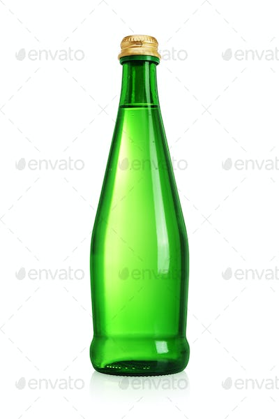 Green glass bottle with water without label isolated on white.