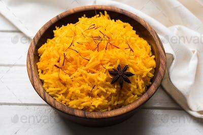 Saffron Rice or Kesar Chawal or Bhat