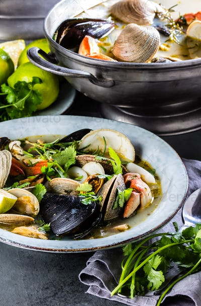 Seafood clams crabs mussela soup. Mariscal