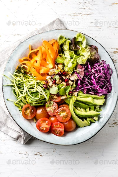 Buddha bowl. Vegetables nuts salad