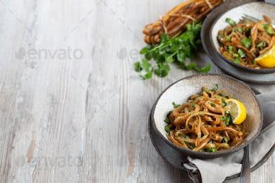 COCHAYUYO spaghetti. Ceviche salad fron pacific seaweed cochayuyo cut us spaghetti