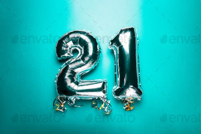 Silver Number Balloons 21