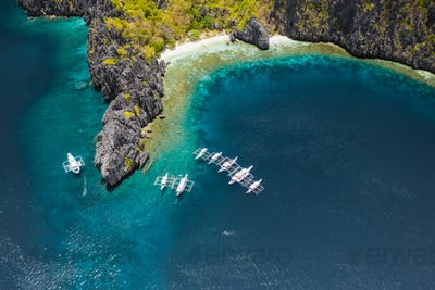 Aerial view of a tropical island Miniloc El Nido, Palawan island, Philippines