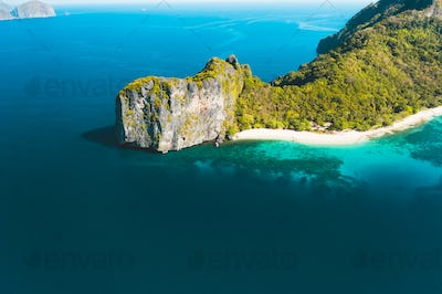 Aerial drone view of Dilumacad also called Helicopter Island in El Nido, Palawan, Philippines