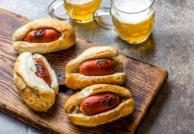 Choripan. Latin American Argentine and chilean food. Chorizo sausages hot dogs