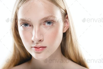 Young girl healthy fresh skin face beauty