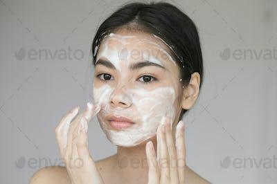 Soap woman asian face beautiful girl clean skin