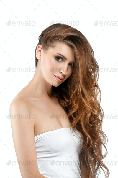 Long beautiful hairstyle  woman isolated on white cosmetic portrait