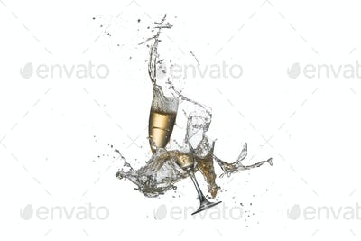 Flying wine glasses with poured alcohol, isolated
