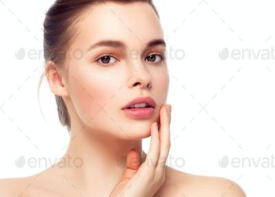Colorful make-up woman face, beautiful brunette summer makeup, beauty fashion girl