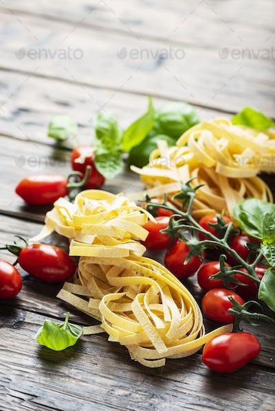Traditional italian pasta fettuccine