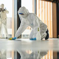 Two Workers doing Chemical Cleaning Indoors