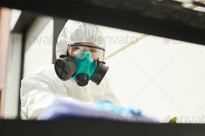 Disinfection Worker Cleaning Surfaces