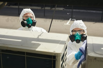Disinfection Workers on Site