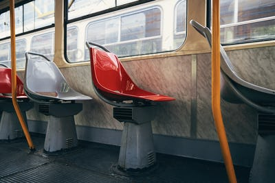 Empty seat in tram