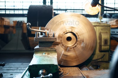 Lathe machine on wetalworking factory, nobody