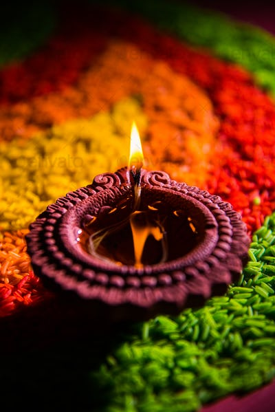 Happy Diwali with Diya or Clay Oil Lamp