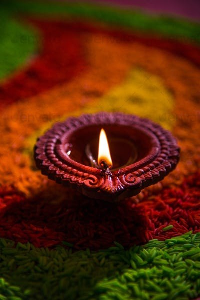 Happy Diwali with Diya or Clay Oil Lamp