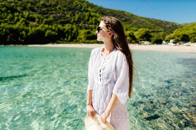 happy girl relax on beach summer vacations