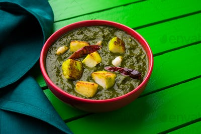 Indian style Palak Paneer Or Spinack Cottage Cheese Curry