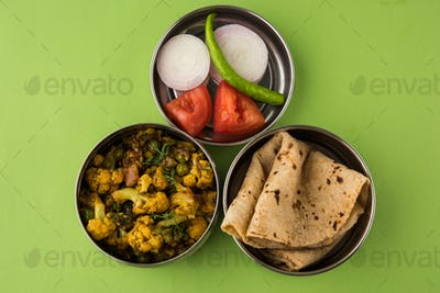 Indian Lunch Box with Vegetarian Food