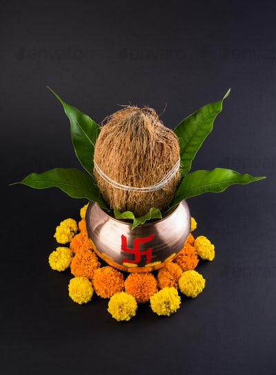 Copper Kalash Decorated for Hindu Pooja