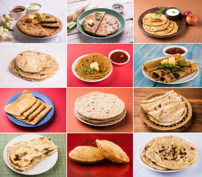 Collage of Indian Flatbreads