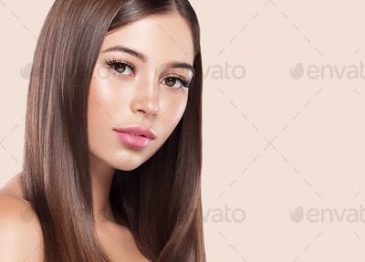 Beauty woman healthy skin concept natural makeup beautiful model girl face over pink background