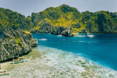 Aerial view of Miniloc island from Shimizu . Crystal clear sea. Bacuit Bay, El Nido, Palawan