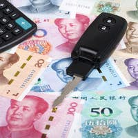 Car key on a Chinese money