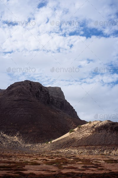 Sao Vicente Cape Verde. Surreal mars like landscape with majestic red volcano crater surrounded by